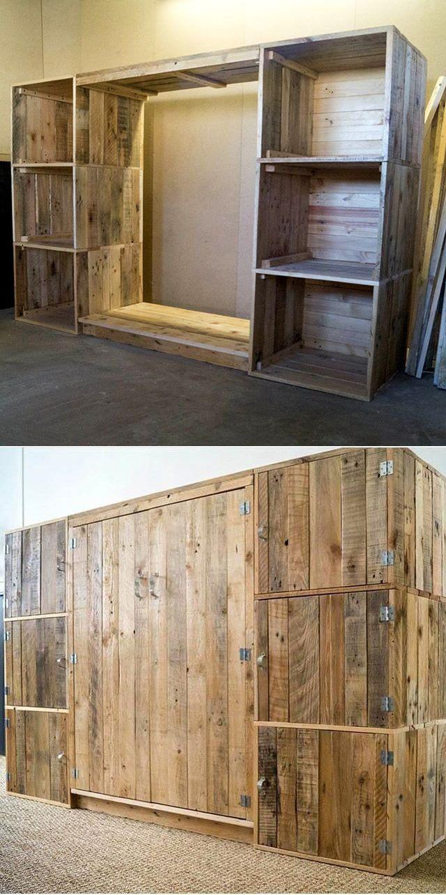Pallet Wardrobe Project Men Swardrobefurniture Pallet Wardrobe Pallet Diy Pallet Wall Shelves Simple disassembly room divider