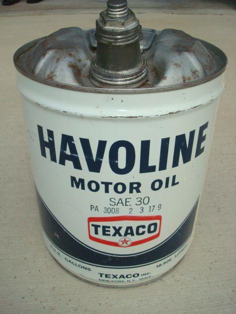 Vintage Texaco Havoline 5 Gallon Motor Oil Can