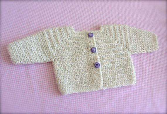 Looking for crochet sweater PATTERNS for baby sweaters? This is a nicely designed girls sweater jacket. The crochet sweater patterns includes many pictures and the layout is so helpful for making this sweater. Crochet cardigan pattern contains the following sizes: Newborn, 0/3 months, 3/6 months, 6/12 months and 18/24 months.  Crochet baby sweater PATTERN uses a #4 worsted weight yarn. Crochet baby sweaters pattern includes the following stitches: single crochet, half doub...