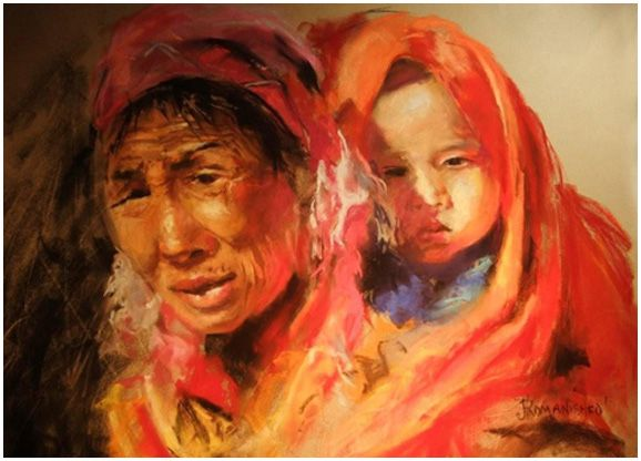MOTHER, 24x30, pastel by Jane Romanishko