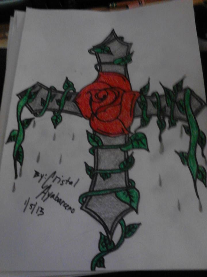 11th Drawing (Cross with a rose and vines) | Drawings ...