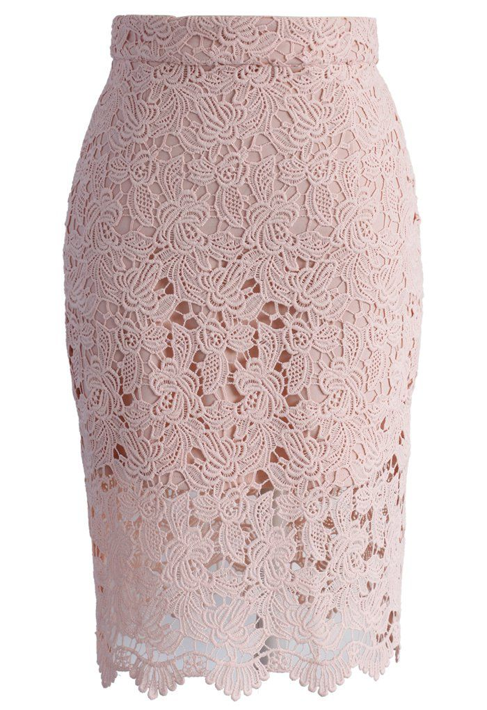 Crochet of Rose Pencil Skirt in Patel Pink - New Arrivals - Retro, Indie and Unique Fashion
