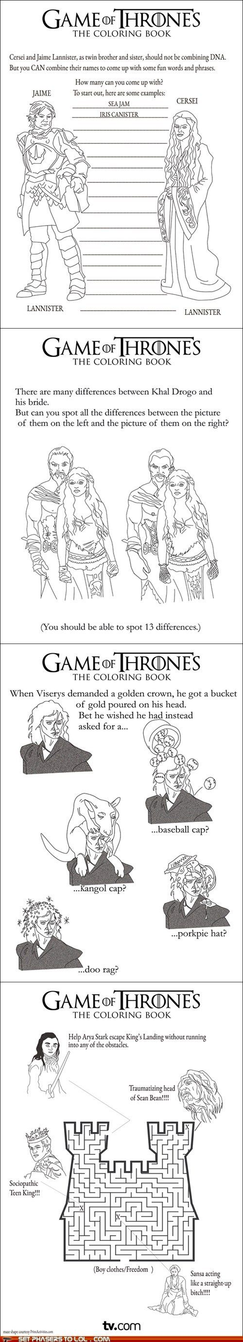 oh yes, perfect for the kids.: Awesome Activities, Games Of Thrones, Thrones Color, Thrones Activities, Activities Time, Activities Book, Game Of Thrones, Activity Books, Color Book