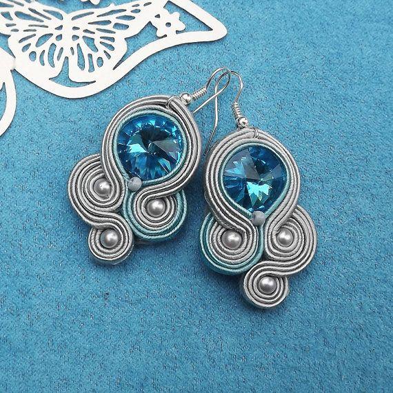 Turquoise Rivoli Soutache Earrings by RhodianaSoutache on Etsy