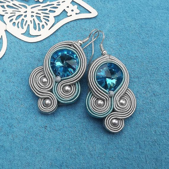 Turquoise Rivoli Soutache Earrings by RhodianaSoutache on Etsy