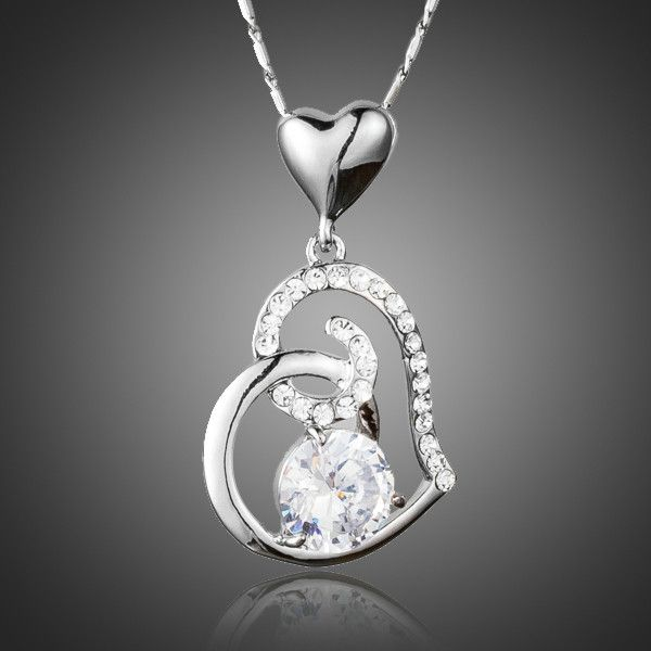 Gift Of Love Clear Heart Top Grade Aaa Cubic Zirconia Pendant Necklace