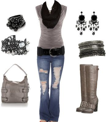 Pretty Outfit, but not big on the ripped jeans.