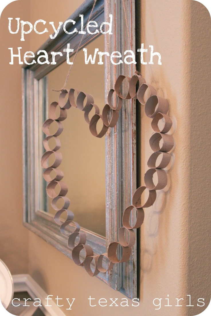 From paper towel and tp rolls- to a wreath. Make Valentine decor from what you have at home. Via Crafty Texas Girls