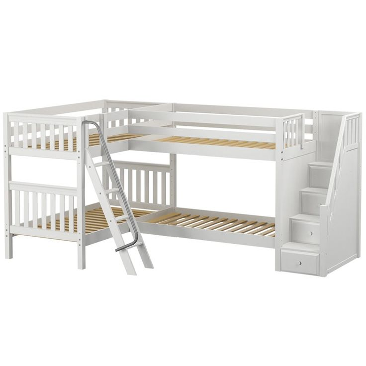 Quad Corner Bunk Bed Get the one that has 2 full beds and 2 twin beds with the white finish. Perfect for the boys to have their own room in a tiny house!