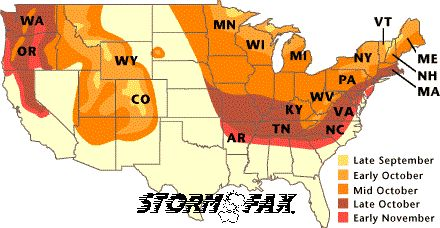 Peak Fall Color Map   Droughts will cause leaves to change a week or so earlier.