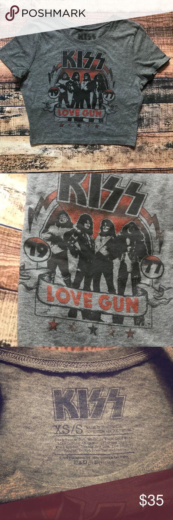"Kiss crop top love gun 1977 xs/s Kiss xs/small crop top love gun 1977  from authentic kiss merchandise 100% cotton made in Guatemala  2016 catalog  measurements are :  Chest : 16"" Length: 16"" #kiss #kisstshirt #kissband #kissfan #kisslove #kisslovegun #kiss1977 Kiss Tops Crop Tops"