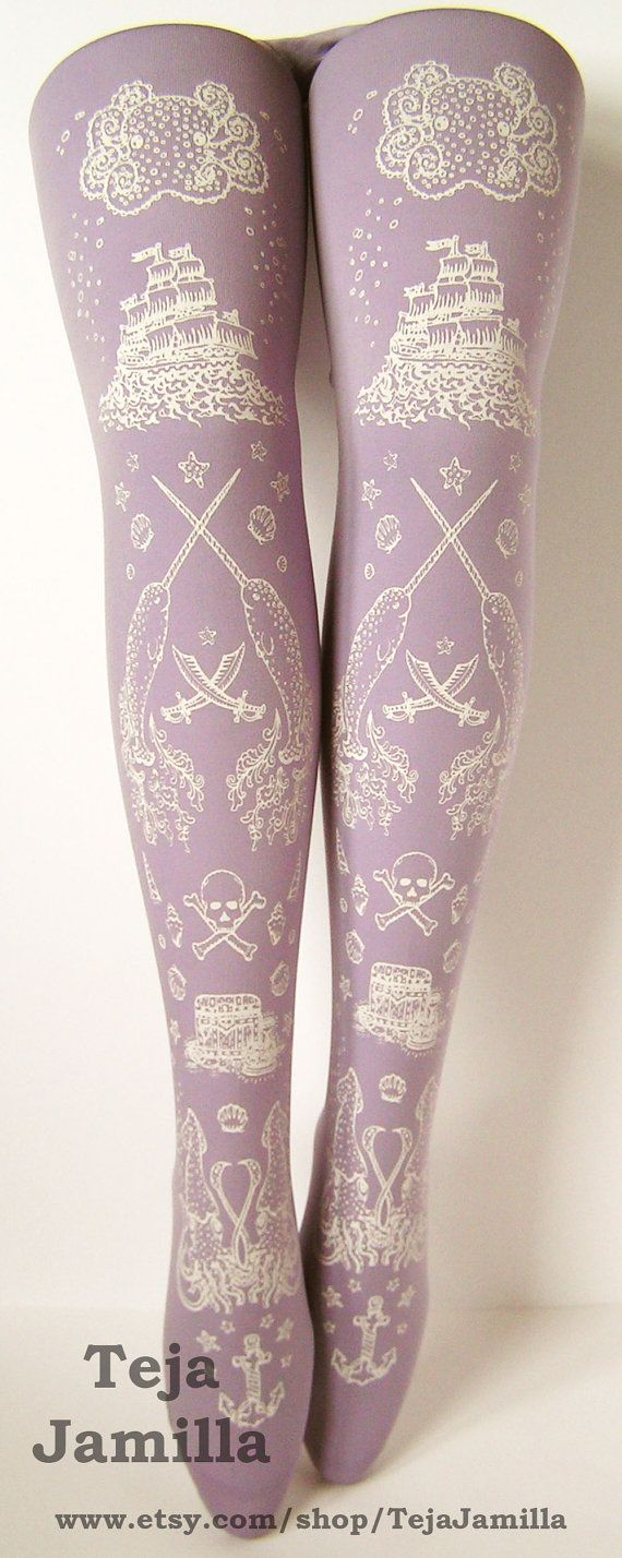 Pirate Printed Tights Nautical Extra Large Plus Size Octopus Narwhal White Lavender Women. $25.65, via Etsy.
