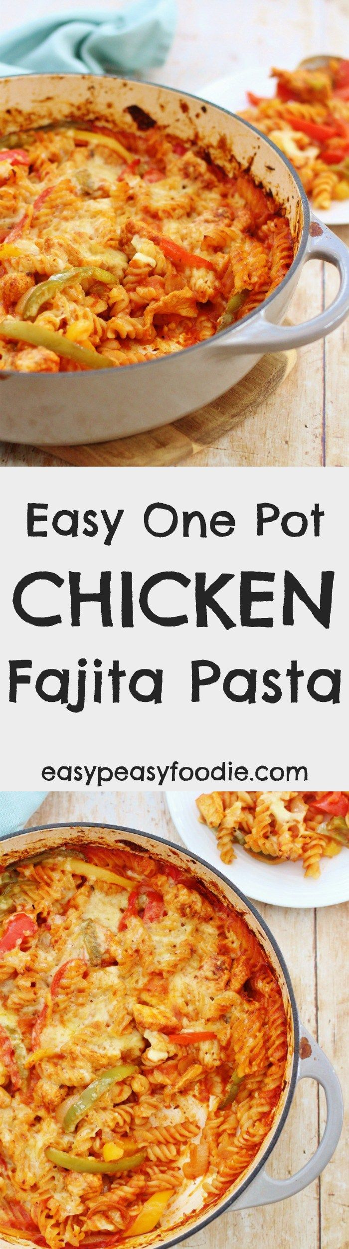 Delicious, quick and family friendly, this Easy One Pot Chicken Fajita Pasta Bake is the perfect midweek meal. The pasta is cooked 'al dente', the chicken is tender, the fajita sauce just coats the pasta beautifully and the whole lot is covered with oozing, melted cheese. And the best part? It's all done in one dish, so this recipe is easy on the washing up too! #onepot #chicken #fajita #pasta #chickenfajitapasta #easy #easydinners #midweekmeals #familydinners #brillblogposts…