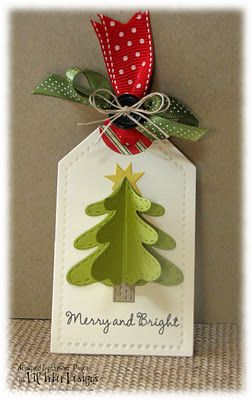 handmade Christmas tag ... clean and simple ... dimensional Christmas tree fold out ...  great for a card topper or package tag ... delightful!! ... Lil' Inker Designs