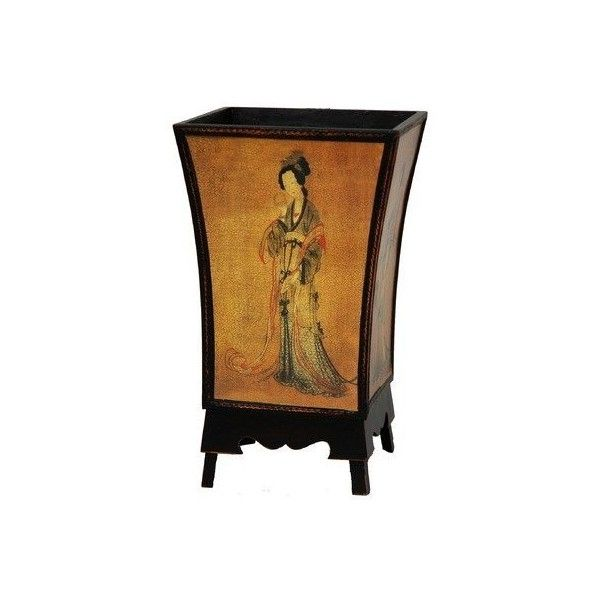 ORIENTAL FURNITURE Enchanted Lady Waste Basket In Golden Brown... ($39) ❤ liked on Polyvore featuring home, home decor, small item storage, oriental, decor, furniture, oriental home decor, asian home decor, colored trash cans and square trash can