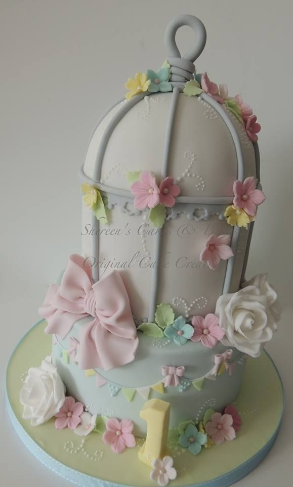 2 tier birdcage cake made for a long time friend's little girl