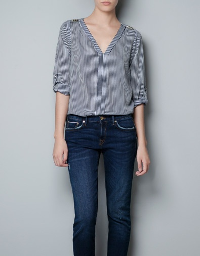 BLOUSE WITH STUDDED SHOULDERS - Shirts - Woman - ZARA