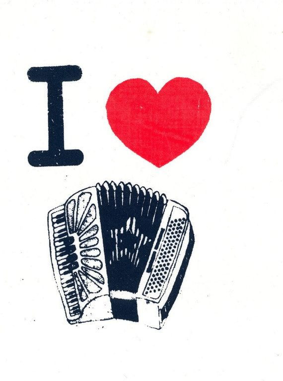 I Heart Accordion: Screenprinted Patch