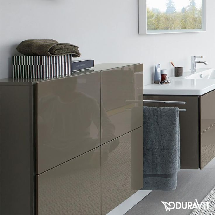 Duravit LC1177 L-Cube 27-1/2 x 14-1/3 Inch Semi-Tall Cabinet with Two Doors and One Glass Shelf LC117700303...