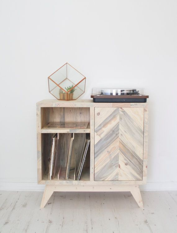 Vinyl records storage cabinet made from reclaimed solid wood, great for Scandinavian style home