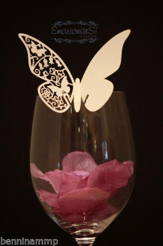 12 farfalle segnaposto bianche bomboniera matrimonio segnatavolo wedding bolle | eBay
