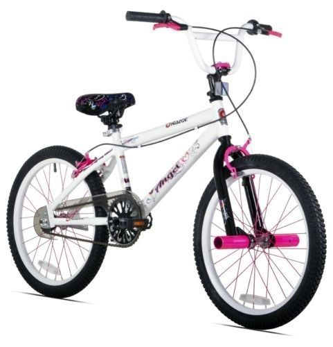Girl Razor Angel Bike White 20 inch Rally Pink Bmx Cycle Track Sport Bicycle $163.99