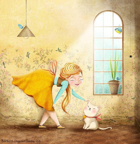 Print of Original Illustration Kitten Girl by BarbaraSzepesiSzucs