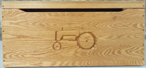 Amish Chest Personalized TRACTOR Toy Chest OAK Chest Deluxe Two Safety Hinges  This flat-top Toy chest is shown in OAK with A Tractor theme. It can have a child