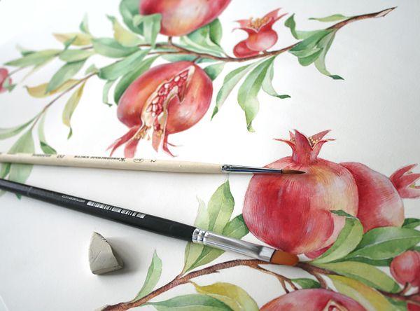 pomegranate pattern on Behance