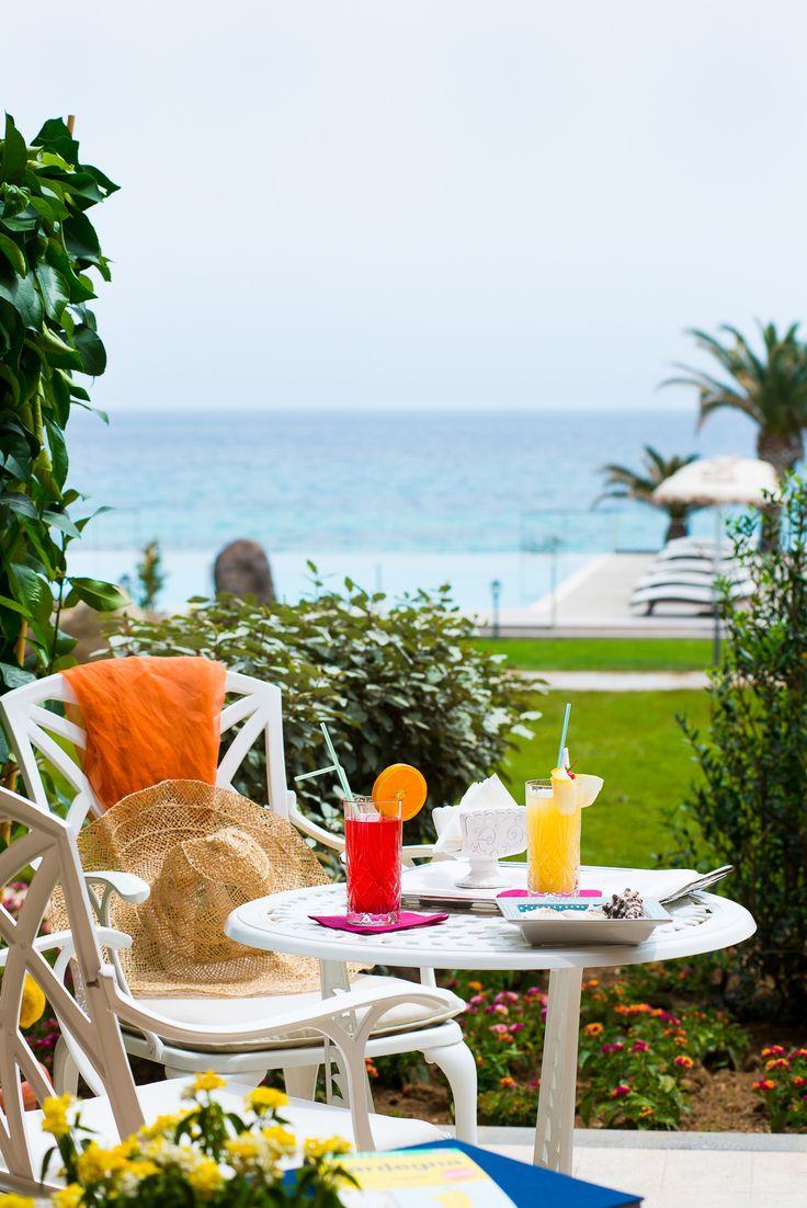 The private patio of the #Deluxe #room #sea #view #lavilladelre #hotel #costarei #sardegna #italy