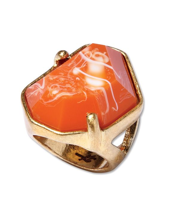 What a great unexpected pop of color.  I love the swirl of orange and cream with the gold backing. At $35 you can't go wrong! Kenneth Cole Orange Ring