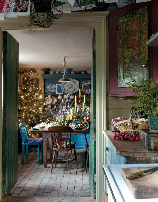 Country Christmas dining room. Turqoise, olive, sage, cranberry.