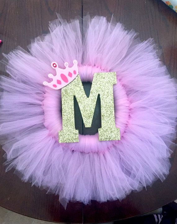 Tulle Wreath, door decoration, pink and gold, princess ...