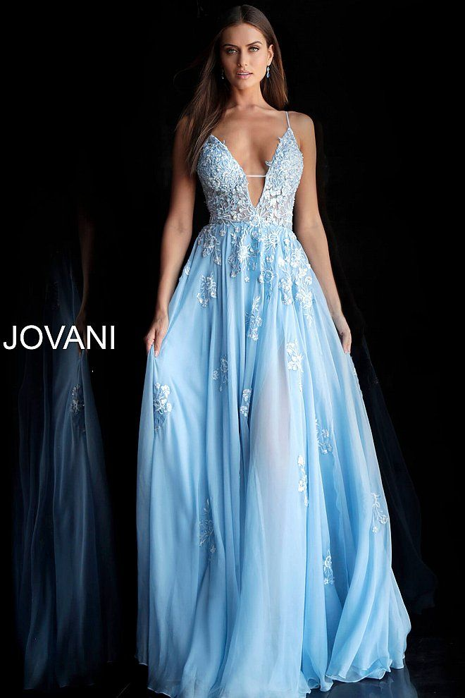 b2e1b385b70 Light Blue Floral Embroidered Plunging Neckline Prom Dress 58632 in ...