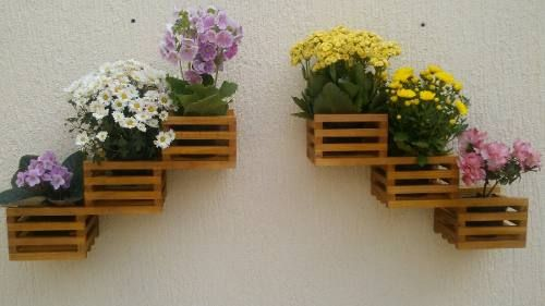 Floreira Vertical Par Violeteira Madeira Maçica C/ Cachepot - R$ 64,50