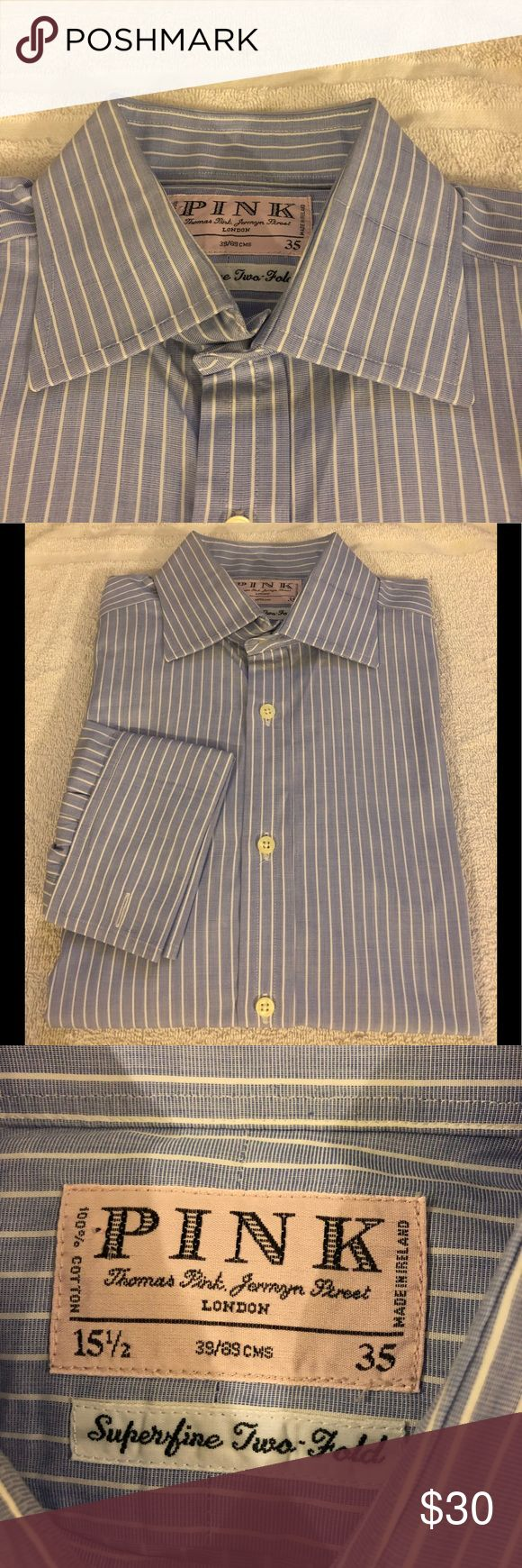 Thomas Pink Blue Stripe French Cuff Shirt 15.5-35 Thomas Pink Blue with White Stripe French Cuff Dress Shirt size 15.5-35! Great condition!  Please make reasonable offers and bundle! Ask questions :) Thomas Pink Shirts Dress Shirts