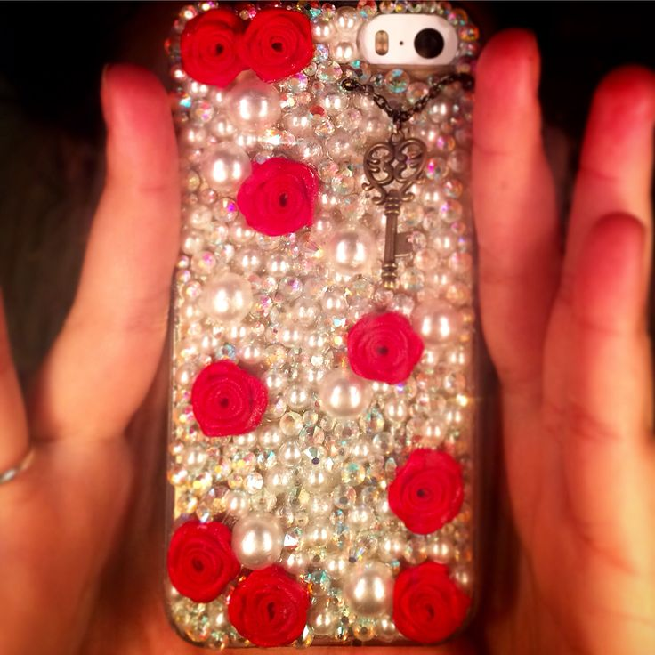 """Great diy phone case buy cheap online plain case and then go to the store with crafts and find flat back """"accessories"""" with rubber flexible super glue make whatever design you want!"""