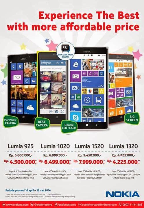 Promo Nokia Lumia 925, 1020, 1320 dan 1520 Hingga 18 Mei 2014