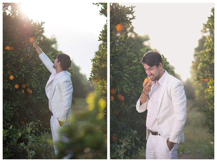 White linen wedding suit