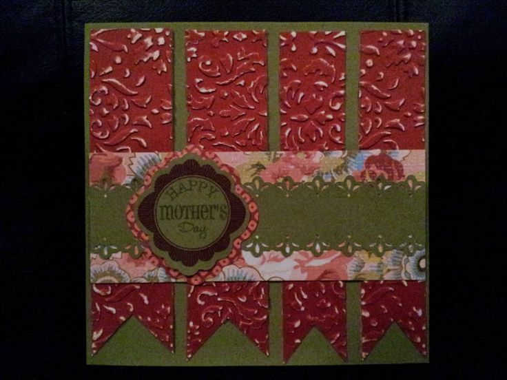"""Happy Mother's Day with Ariana paper and CTMH Damask embossing folder """"I took a 3″ x 11″  3-3/4″ x 4-1/2″ strip of White Daisy Cardstock and ran them through my Cuttlebug embossing machine. What's really awesome about our Embossing Folders is that there is a slit in the fold that allows you to emboss paper that is longer than 7″. (Pamela O'Connor)"""