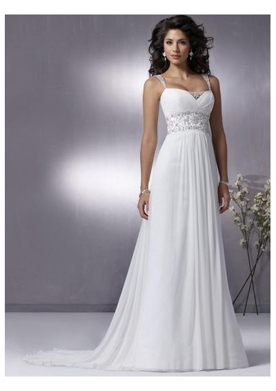 Chiffon slim a line pleats skirt with beaded straps and chapel train hot sell wedding dress wm 0147