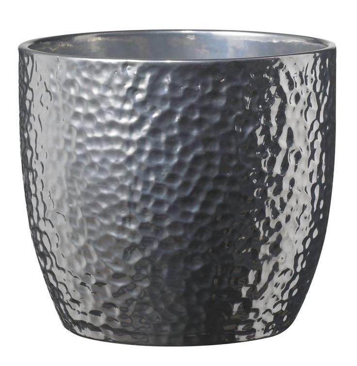 Boston Round Ceramic Silver Effect Plant Pot (H)23cm (Dia)24cm | Departments | DIY at B&Q