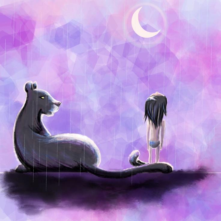 Watered Silk | AshleyRose Illustration  #mowgli #bagheera #jungle book #panther