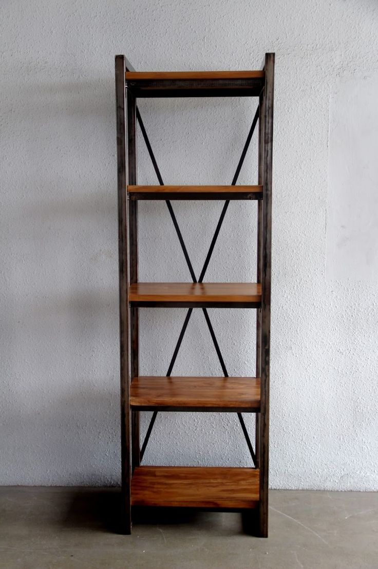 Metal And Wood Bookshelves Design With Freestanding Wooden Shelves Series Of Metallic Iron Also Five