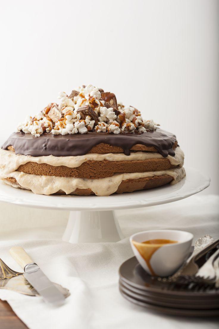 #tort bananowo-czekoladowy z popcornem to zabawna propozycja na dziecięce przyjęcie lub podwieczorek! #popcorn #popcorncake #delektujemy