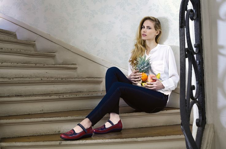 NAOT - MOTU Berry Red Combo (Lifestyle Image) #NAOT #footwear #shoes #maryjane #orthoticfriendly #fashion #comfort #removableinnersole #bestseller #style #fruit #stairs #paris
