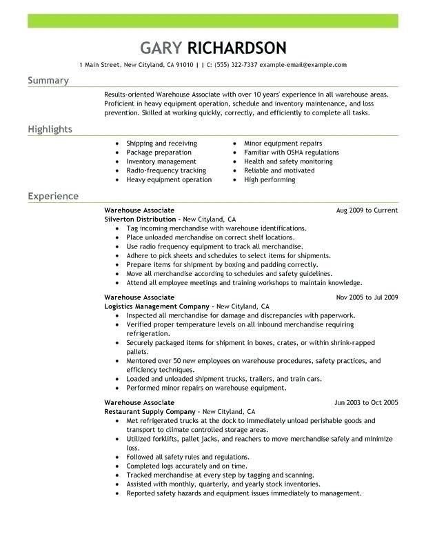 Sample Resume For Warehouse Warehouse Associate Resume Sample