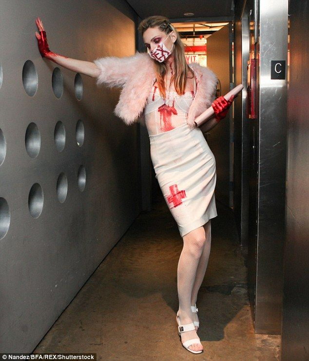 Red hot: Transgender model Andreja Pejic also got into the Halloween spirit as she attended a party in New York