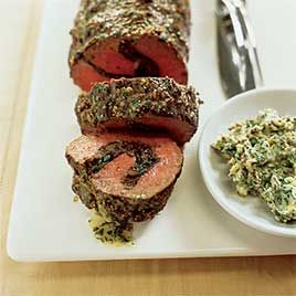 Ultimate Beef Tenderloin w/Caramelized Onion + Mushroom Stuffing and Herb Mustard Butter