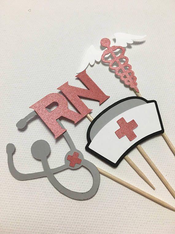 12 verpleegkundige Cupcake Toppers BSN afstuderen